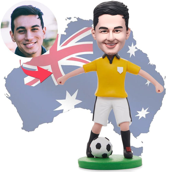 AU Sales-Custom Soccer/football Player Dribbling In Yellow Shirt Bobbleheads With Engraved Text