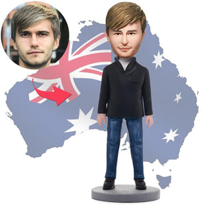 AU Sales-Custom Fashion Casual Man Bobbleheads With Engraved Text