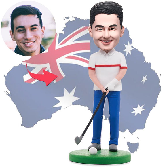 AU Sales-Custom Happy Golfer Man Bobbleheads With Engraved Text