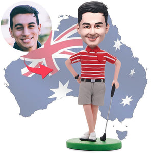 AU Sales-Custom Golfer Posing In Red Shirt Bobbleheads