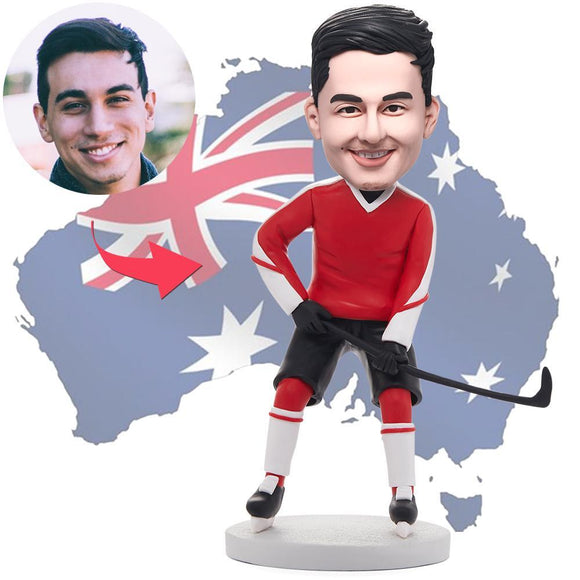 AU Sales-Custom Hockey Player In Red Red Clothes Bobbleheads