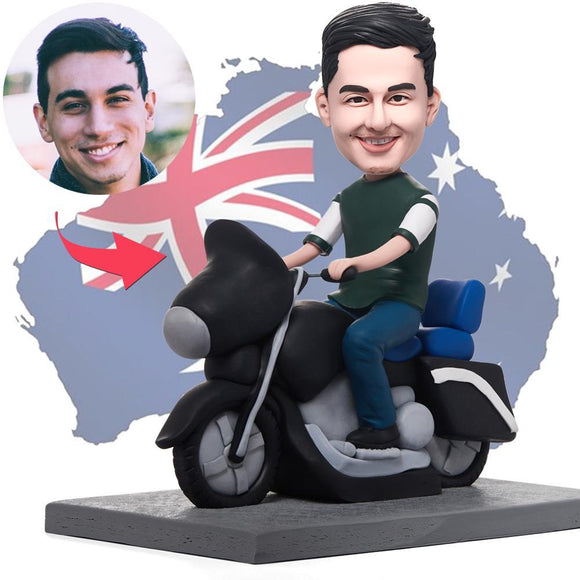 AU Sales-Custom Cool Man On Motorcycle Bobbleheads