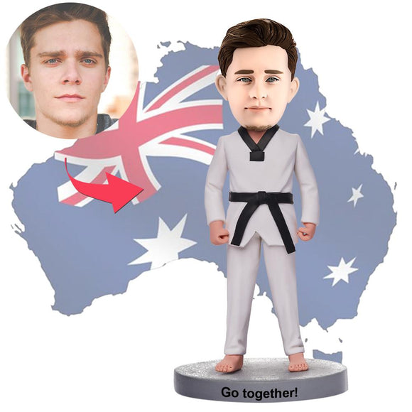 AU Sales-Custom Martial Arts Man Bobbleheads With Engraved Text