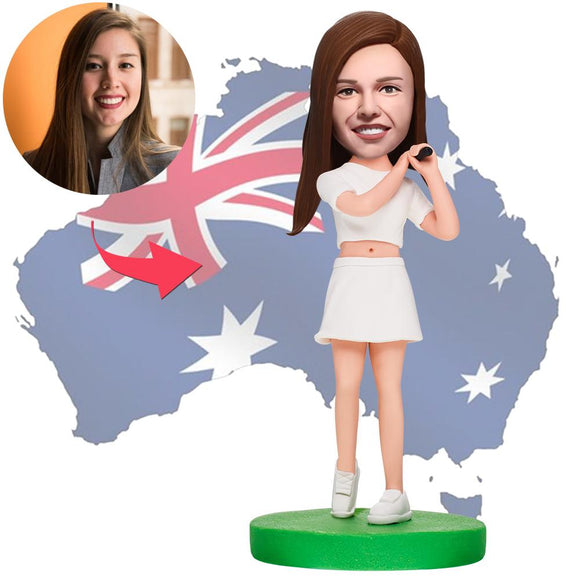 AU Sales-Custom Female Golfer Bobbleheads With Engraved Text