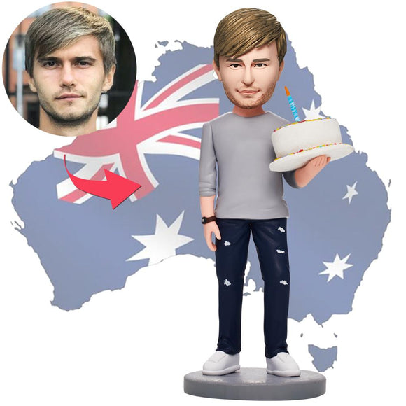 AU Sales-Custom Man Holding Birthday Cake Bobbleheads With Engraved Text