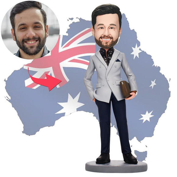 AU Sales-Custom Business Man With Bag Bobbleheads With Engraved Text