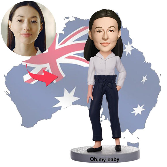 AU Sales-Custom Casual Beautiful Girl Bobbleheads With Engraved Text