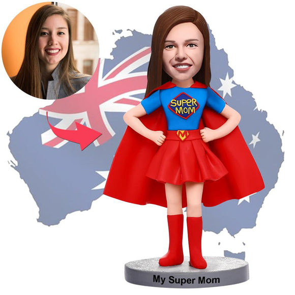 Mother's Day Gifts - Custom Supermom Bobbleheads With Engraved Text