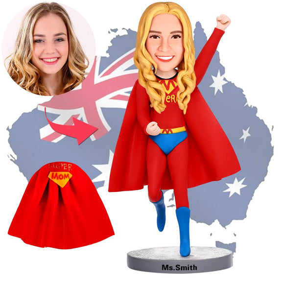 Mother's Day Gifts - Custom Flying Supermom Bobbleheads With Engraved Text