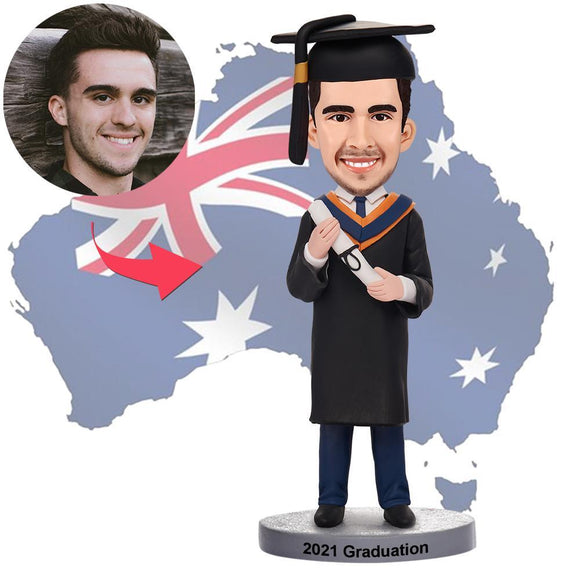 AU Sales-Custom Graduation Man Bobbleheads With Engraved Text