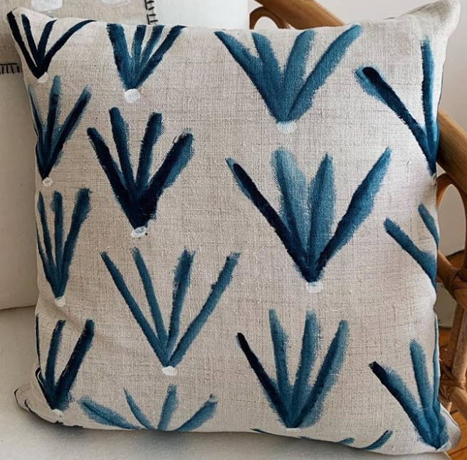 Custom 12x20 hand painted flora:blue pillows