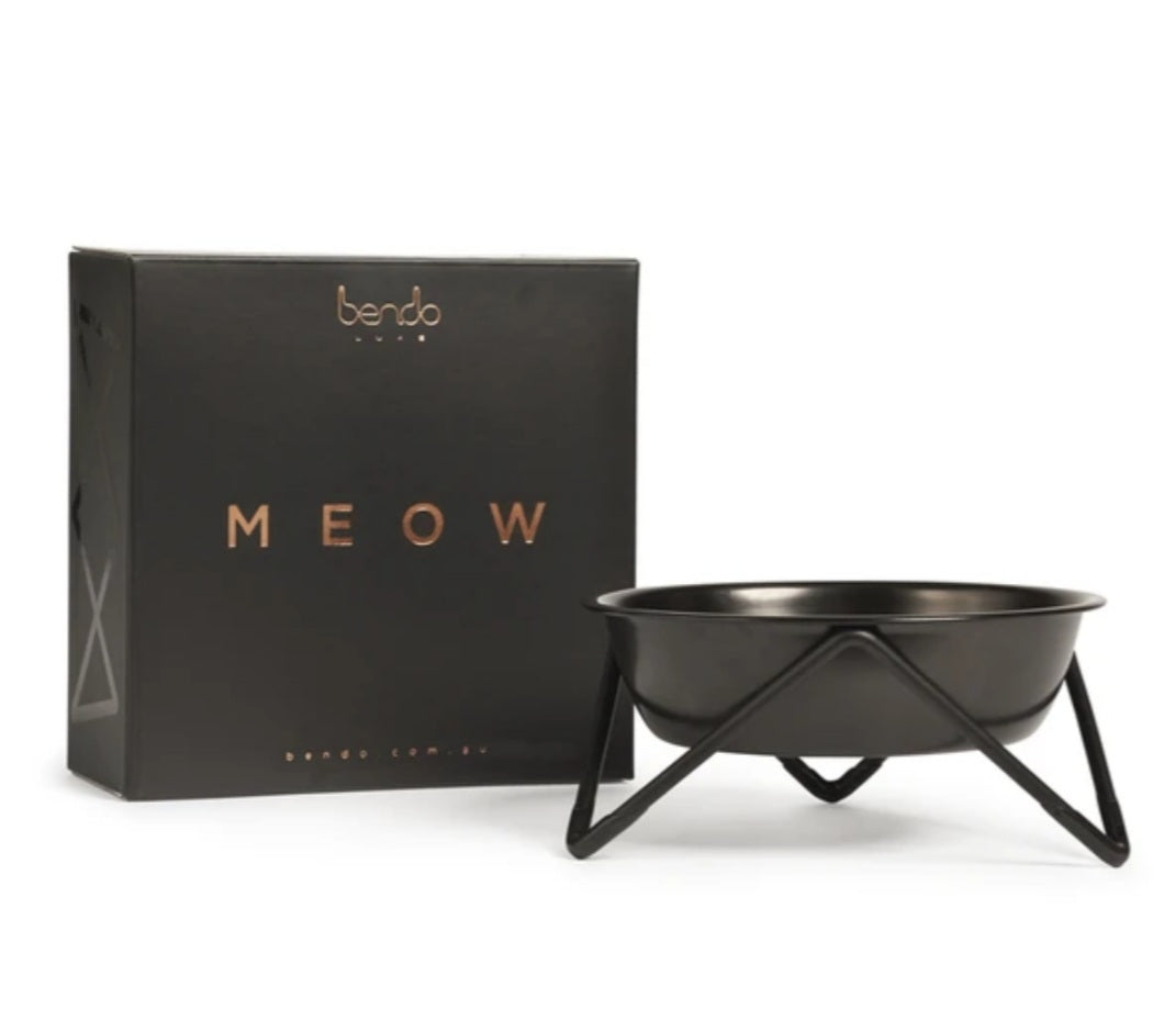 Meow Luxe Pet Bowl - Black on Black