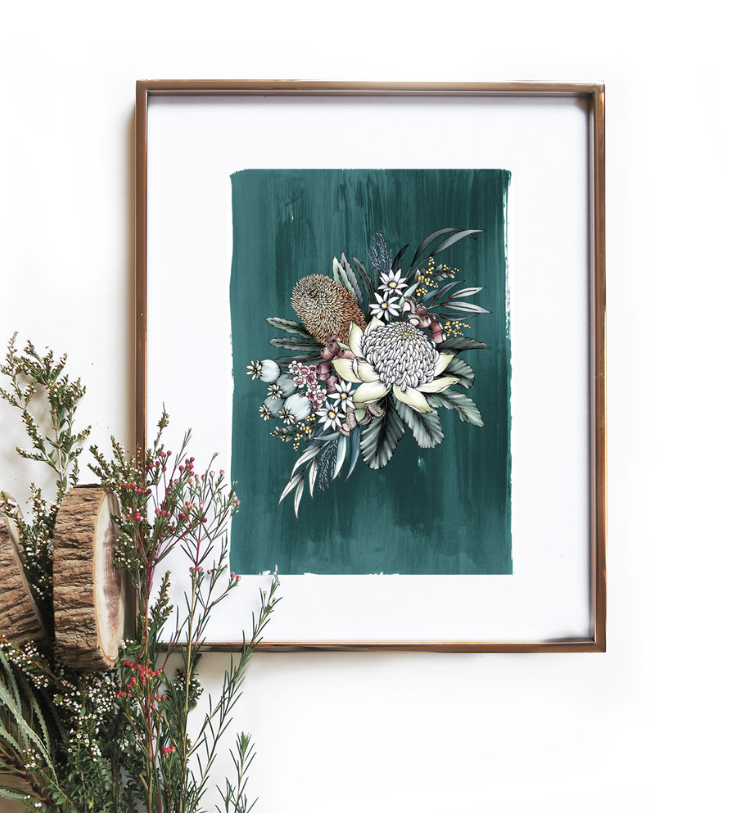 Teal Botanical Native Art Print