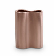 Load image into Gallery viewer, Ribbed Infinity Vase Ochre
