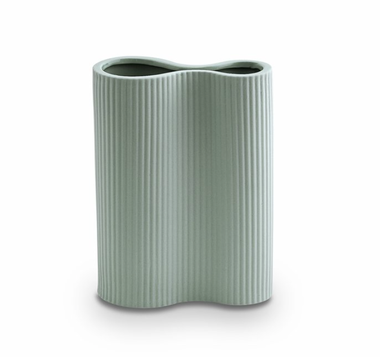 Ribbed Infinity Vase Blue