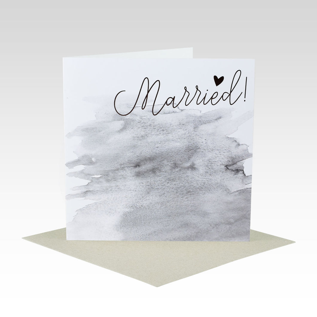 Watercolour & Rose Gold Wedding Card - Married