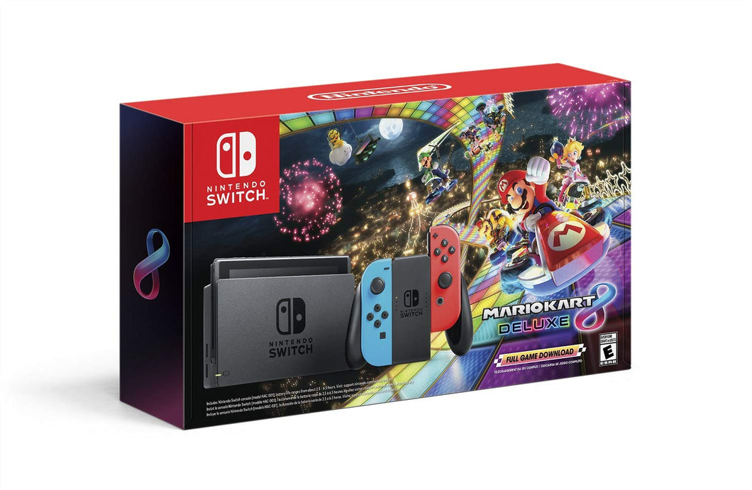 Nintendo Switch Gray/Neon Blue & Neon Red Joy-Con + Mario Kart 8 Deluxe (Full Game Download) - Switch