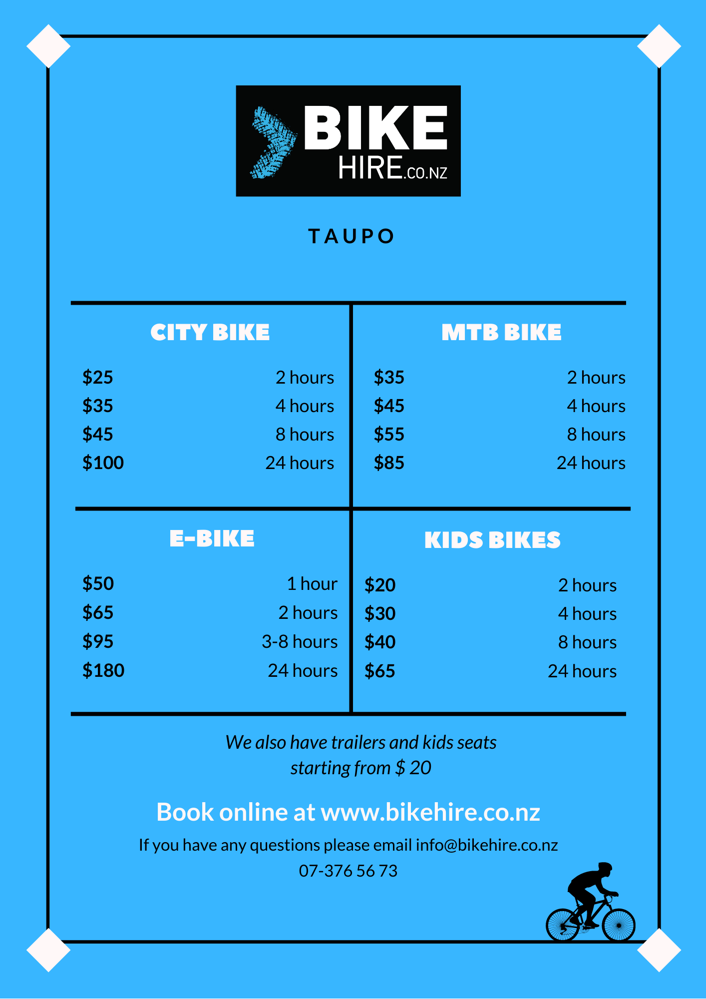 bike hire prices in taupo
