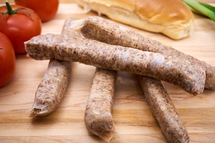 Tomato & Basil Beef Sausages ($34.99/kg)