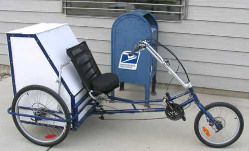 The USPS postal delivery tricycle.