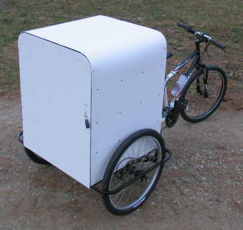 A custom built delivery bicycle.