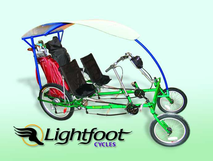A course-ready, turf-friendly, capable and fun pedal power golf cart.