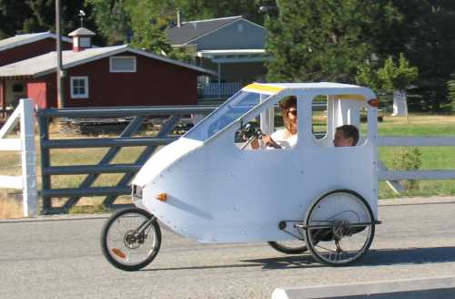 An early Lightfoot velomobile.