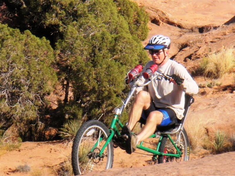 Mountain bike recumbent for slick rock riding