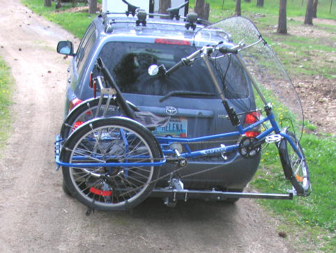 The Hitchrider receiver hitch trike rack.