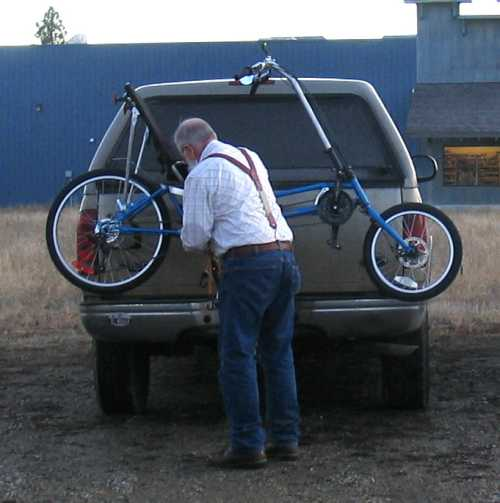 Car rack for recumbent bicycle.