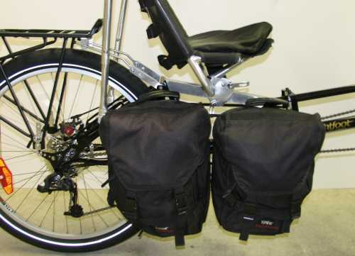 Underseat pannier racks allow Lightfoot bikes to carry 4 panniers down low.