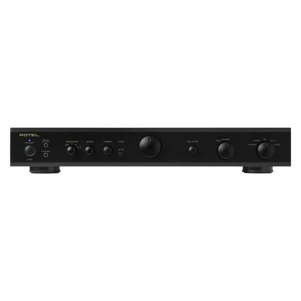 Rotel A10 Integrated Amplifier with Phono Input - Black - Front