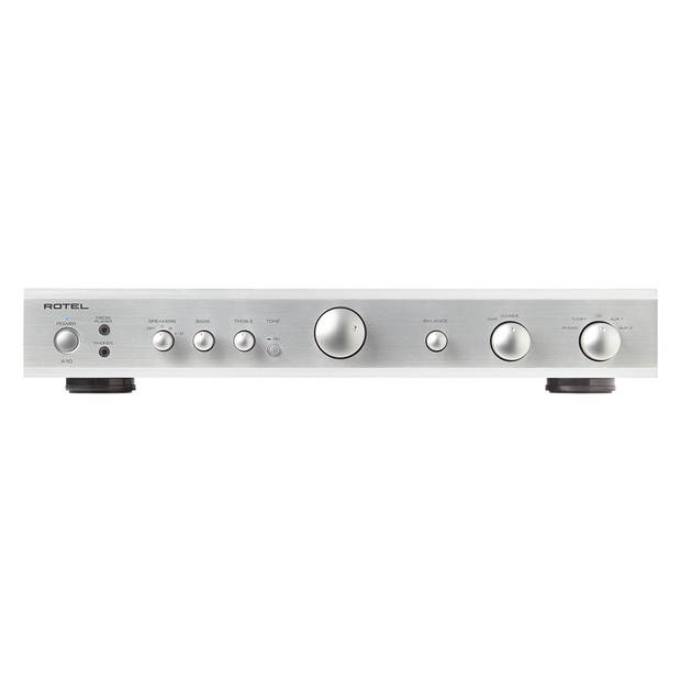 Rotel A10 Integrated Amplifier with Phono Input - Silver - Front