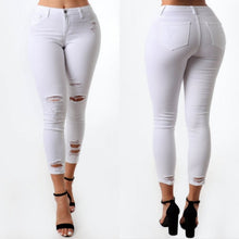Load image into Gallery viewer, Distressed White Skinny Jeans