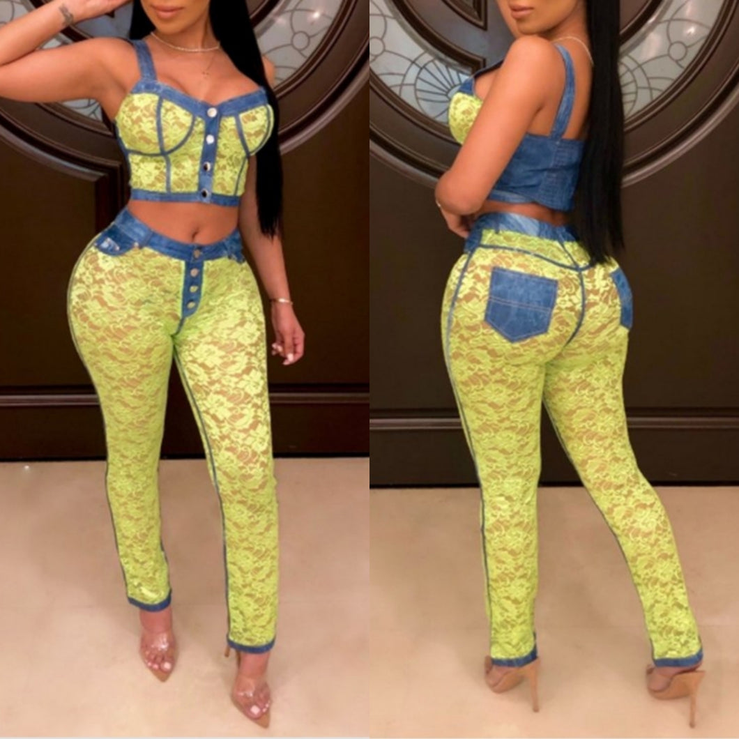 Denim Lace Pants Set