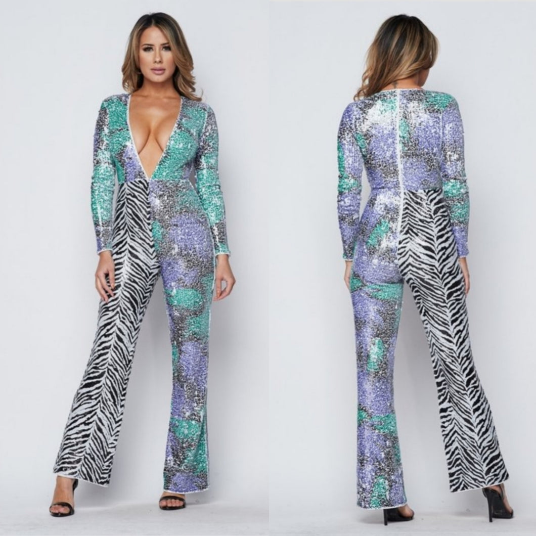 Zebra Pattern Jumpsuit