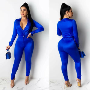 Satin Bodysuit Pants Set