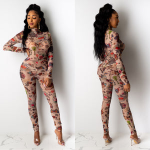 Tattoo Print Jumpsuit