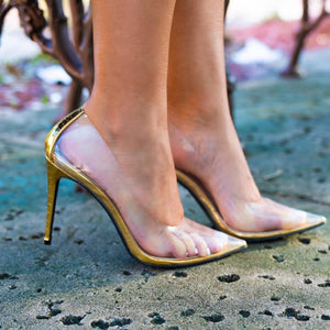 Barely There Gold Heels