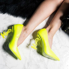 Load image into Gallery viewer, Priceless Neon Green Heels