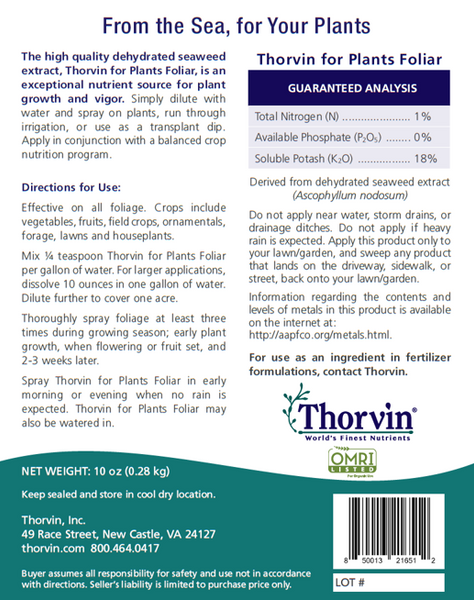 Thorvin for Plants back label