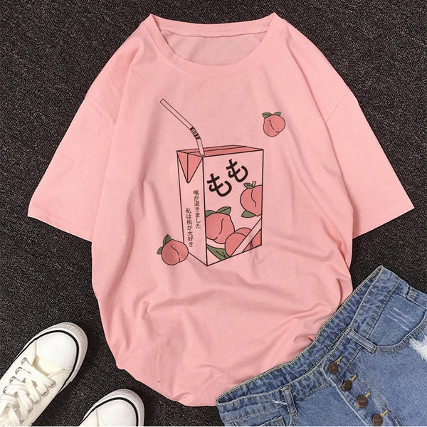 Kawaii Cartoon Peach Juice Tshirt