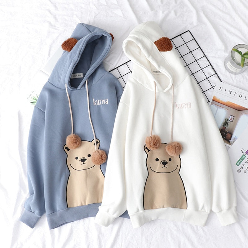 Harajuku Kawaii Bear Ear Hooded Sweatshirt