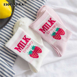 Kawaii Strawberry Milk Socks