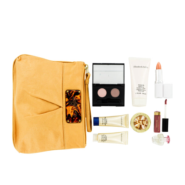 Elizabeth Arden Mini Makeup 9 Piece Gift Set in Mustard Clutch Wristlet