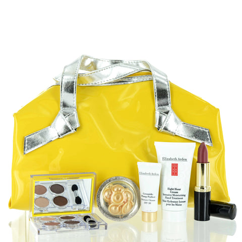Elizabeth Arden Makeup 6 Piece Gift Set in Mustard Yellow Hand Bag