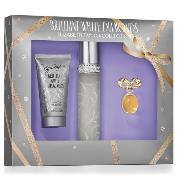 Brilliant White Diamonds by Elizabeth Taylor 50ml EDT 3pc Gift Set