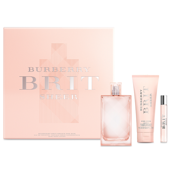 Burberry Brit Sheer by Burberry 100ml EDT 3 Piece Gift Set