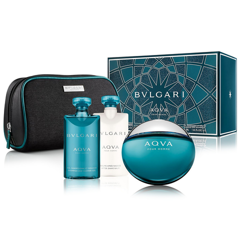Aqva Pour Homme by Bvlgari 100ml EDT 4 Piece Gift Set
