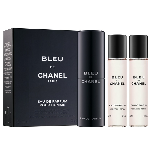 Bleu De Chanel by Chanel 3x 20ml EDP Travel Spray 932553957